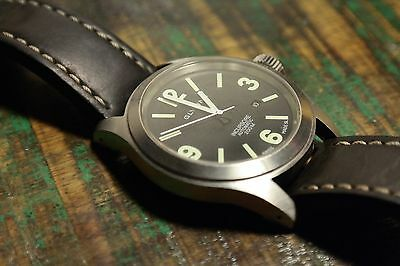 Glycine Incursore Automatic Stainless Steel Watch 46mm with Black Leather Strap