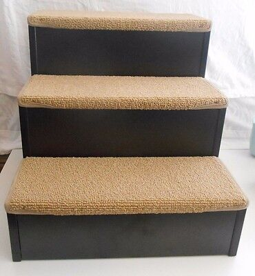 Nice Wood Finish / Carpeted Pet Small Dog Or Cat Stairs Steps Storage Excellent!