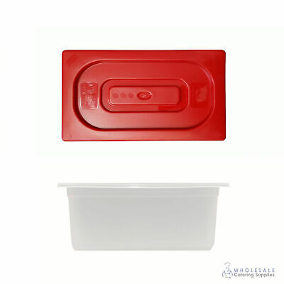 Food Pan with Red Lid 1/3 GN Size 150mm Deep Polypropylene Gastronorm