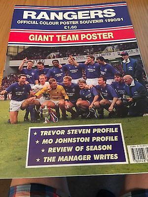 Rangers Official Colour Souvenir Giant Team Poster opens out 1990-91