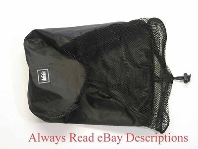 "REI CINCH MESH STORAGE BAG-Black 15x7"" -Sleeping Bag Gear Jacket Liners Blankets"