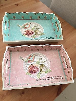 2 x French Provincial Shabby Chic Bird Rose Wooden Serving Display Tray