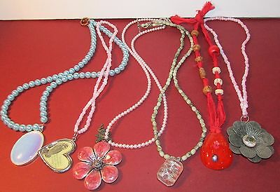 Lot of handmade beaded Necklaces Costume Jewelry Red Blue Glass Pendants