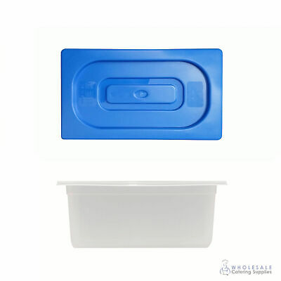 12x Food Pan with Blue Lid 1/3 GN Size 150mm Deep Polypropylene Gastronorm