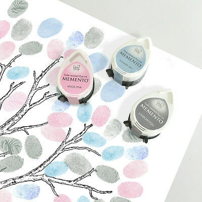 three fingerprint guest book tree ink pads - winter set - pink and blue