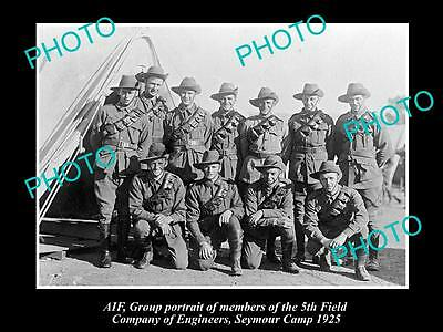 OLD LARGE HISTORIC PHOTO OF AIF ANZAC SOLDIERS 5th FIELD ENGINEERS, SEYMOUR 1925
