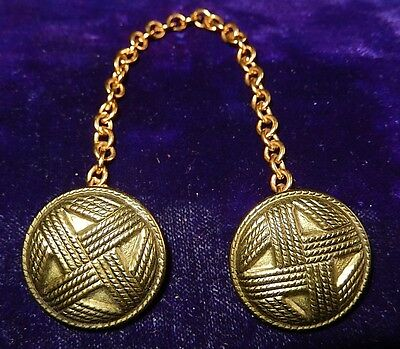 Vintage Gold-Tone Sweater Buttons With Chain