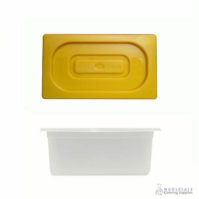 12x Food Pan with Yellow Lid 1/3 GN Size 150mm Deep Polypropylene Gastronorm