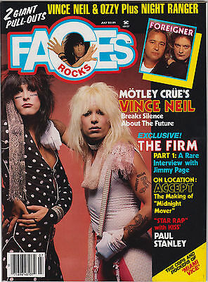 Faces Rocks Magazine June 1985 Motley Crue Firm Accept Miami Vice Kiss Foreigner