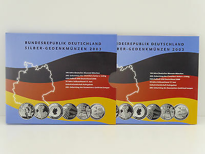 BRD Silber Gedenkmünzenset 2003 ,6x10 Euro im Original Folder,PP/Proof (L1)