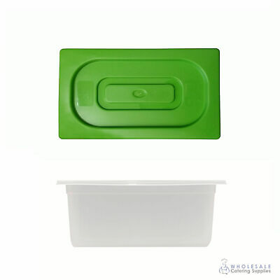 12x Food Pan with Green Lid 1/3 GN Size 150mm Deep Polypropylene Gastronorm