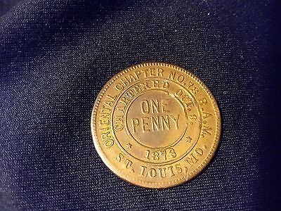 1873 Masonic Coin - One Penny Oriental Chapter No. 78 St.louis, Mo.
