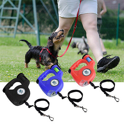 Pet Dog Cat Puppy Automatic Retractable Traction Rope Walking Lead Leash&Poo Bag