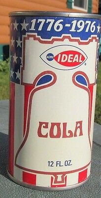 Clean 1976 Straight Steel IDEAL Cola Soda Flat Top Can Air Sealed Unopen