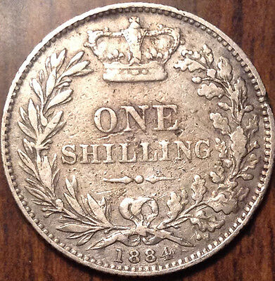 1884 Uk Gb Great Britain Silver Shilling In Good Condition !!