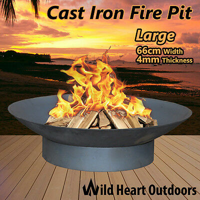 "Fire Pit Patio Heater 66cm 26"" Open Fireplace Large Firepit Garden Plant Bowl Ou"