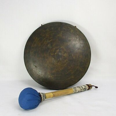 D778: Japanese old copper gong DORA with stick for Buddhism temple, etc