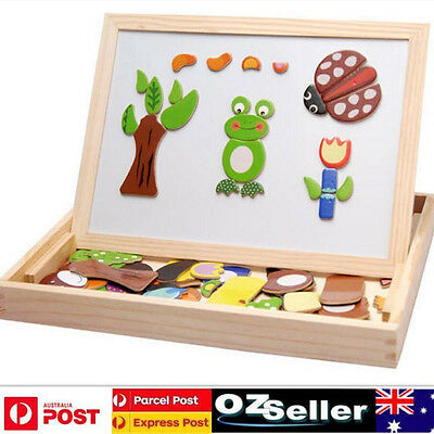 Kids Educational Wooden Magnetic Drawing Board Farm Cows Jigsaw Puzzle Toys Gift