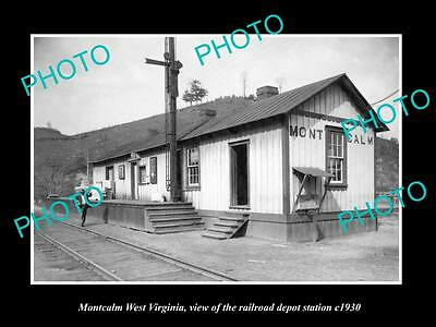 OLD LARGE HISTORIC PHOTO OF MONTCALM WEST VIRGINIA, THE RAILROAD STATION c1930