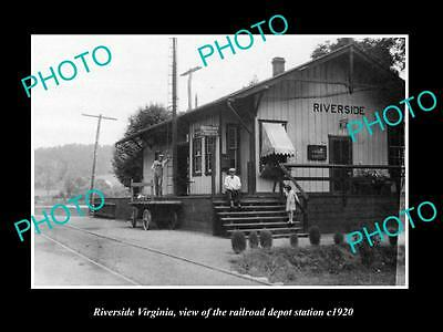 OLD LARGE HISTORIC PHOTO OF RIVERSIDE VIRGINIA, THE RAILROAD DEPOT STATION c1920