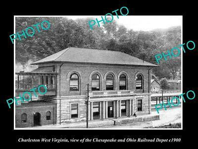 OLD LARGE HISTORIC PHOTO OF CHARLESTON WEST VIRGINIA, THE RAILROAD STATION c1900