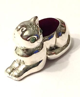 Sterling Silver Cat Pin Cushion W/ Emerald Set Eyes Superb