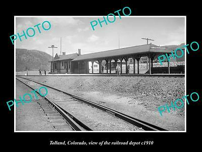 OLD LARGE HISTORIC PHOTO OF TOLLAND COLORADO, THE UNION RAILROAD STATION c1910