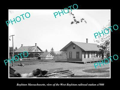 OLD HISTORIC PHOTO OF BOYLSTON MASSACHUSETTS, THE WEST RAILROAD STATION c1900