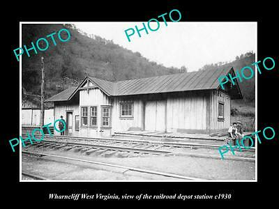 OLD LARGE HISTORIC PHOTO OF WHARNCLIFF WEST VIRGINIA, THE RAILROAD STATION c1930