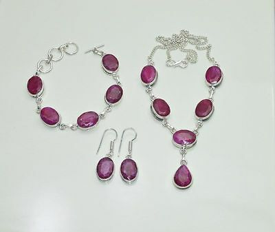 Wholesale 3Pc925 Silver Plated Cut Red Ruby Earring-Necklace-Bracelet Mix Lot