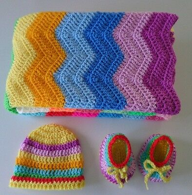 Handmade Crochet Baby Blanket Bassinet Cot Beanie Booties Bonus With Blanket