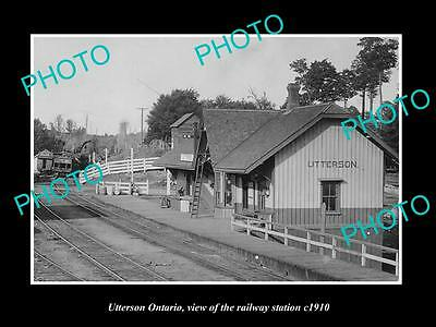 OLD HISTORIC PHOTO OF UTTERSON ONTARIO CANADA, VIEW OF THE RAILWAY STATION c1910