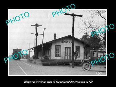 OLD LARGE HISTORIC PHOTO OF RIDGEWAY VIRGINIA, THE RAILROAD DEPOT STATION c1920