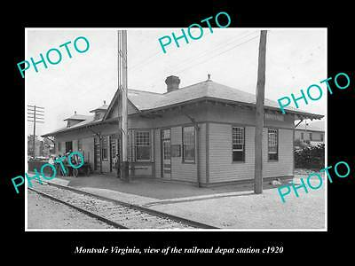 OLD LARGE HISTORIC PHOTO OF MONTVALE VIRGINIA, RAILROAD DEPOT STATION c1920