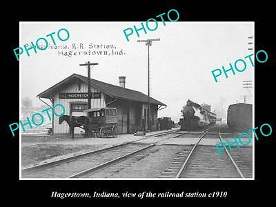OLD LARGE HISTORIC PHOTO OF HAGERSTOWN INDIANA, THE RAILROAD STATION c1910
