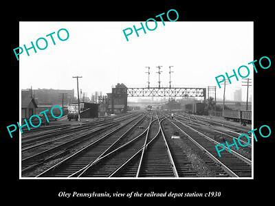 OLD LARGE HISTORIC PHOTO OF OLEY PENNSYLVANIA, THE RAILROAD DEPOT STATION c1930
