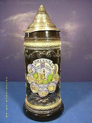 Vintage Beer Stein Lidded Tankard Handpainted Souvenir Of Bruges Belgium--Pewter