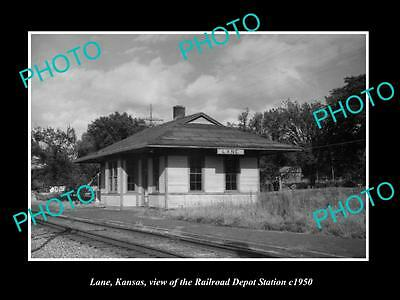OLD LARGE HISTORIC PHOTO OF LANE KANSAS, THE RAILROAD DEPOT STATION c1950