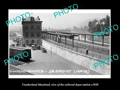 OLD LARGE HISTORIC PHOTO OF CUMBERLAND MARYLAND, THE RAILROAD DEPOT c1920