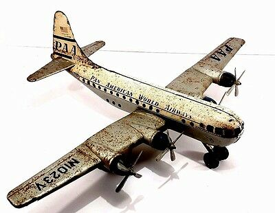 Vintage Tin Friction Pan Am Airways Strato Clipper Toy Airplane Gama PAA N1023V