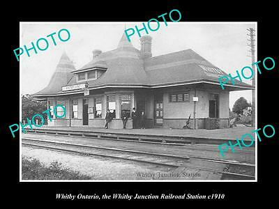 OLD HISTORIC PHOTO OF WHITBY ONTARIO CANADA, VIEW OF THE RAILWAY STATION c1910