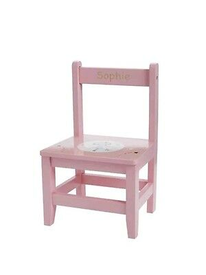 Personalised Wooden Children's Chair Pink Nursery Gift Playroom Toddler