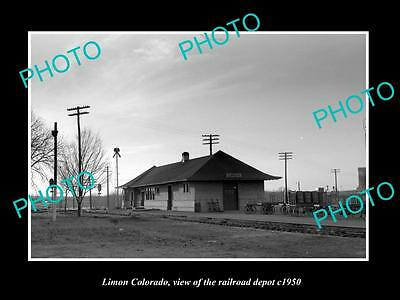OLD LARGE HISTORIC PHOTO OF LIMON COLORADO, THE RAILROAD DEPOT STATION c1950