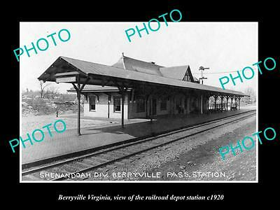 Old Large Historic Photo Of Berryville Virginia, Railroad Depot Station 1920 1