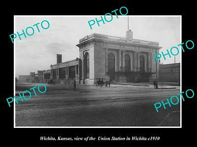 OLD LARGE HISTORIC PHOTO OF WICHITA KANSAS, THE UNION RAILROAD STATION c1910
