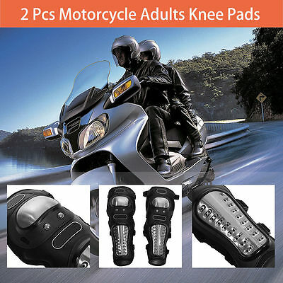 2 Pcs Stainless Steel Motorcycle ATV Adults Knee Pads Shin Guard Armor Set AF