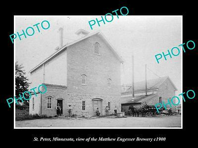 OLD LARGE HISTORIC PHOTO OF ST PETER MINNESOTA, ENGESSER BREWERY PLANT c1900