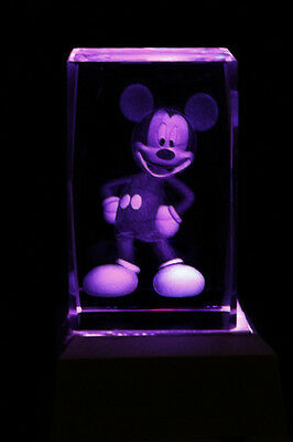 Mickey Mouse Collectable Laser Inscribed Crystal LED Night Light Gift CAR12