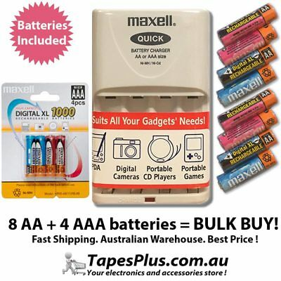 12x Rechargeable AA AAA Batteries and fast Battery Charger aa aaa