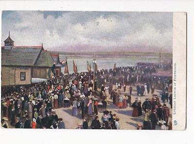 Tucks Oilette Postcard Lifeboat Launch At Fleetwood Early 1900s